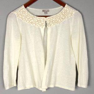 J JILL Linen/Cotton Blend Open Front Sweater